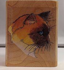 Cat Profile Rubber Stamp Siamese Blue Eye Cat F793