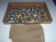 ANTIQUE LOT OF GLASS MARBLES WITH ORIGINAL MARBLE BAG