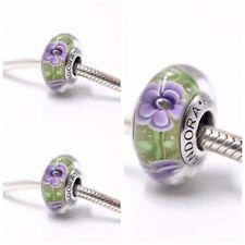 Pandora Murano Glass Charms green Purple flowers Bead Silver S925 Ale New,