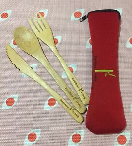 bamboo cutlery set Spoon Fork Knife With Holder