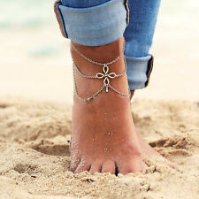 Silver Plated Tassel Pendant Chain Link Anklets Bracelet Foot Jewelry For Lady