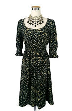 LEONA EDMISTON Dress - Vintage Style Animal Leopard Print Black Stretch - 12/14