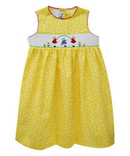 Girls SILLY GOOSE smocked dress 12M NWT friends 6-12-18 yellow sunflower dots