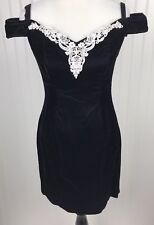 Vtg Designs Velvet Dress Womens 9/10 Black Off Shoulder Fitted Holiday Party