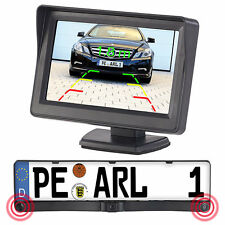 Lescars Farb-Rückfahrkamera im Nummernschildhalter m. Monitor & Abstandswarner