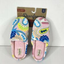 Dearfoams Womens Pink Paisley Memory Foam House Slide Slippers Size Large