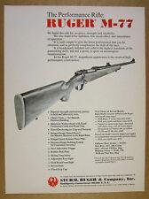 1972 Ruger M-77 M77 Bolt-action Rifle vintage print Ad