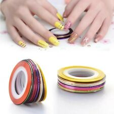 10x Nail Art Sticker Tape Rolls Decor Striping Line Tips 1mm Multi Color Pack AU