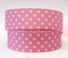 1M X 22mm Grosgrain Ribbon Craft DIY Cake Decoration Hair Bow White Dots In Pink