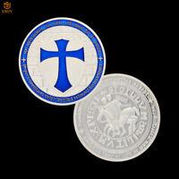 Blue Templar Knight Crusader Token Silver Plated Metal Souvenir Coin Collection