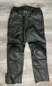 Tour Master Cortech Black Leather Pants Full Leg Zip Knee Support Size Medium 34