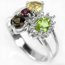 Natural PERIDOT CITRINE RHODOLITE SMOKY Quartz STERLING SILVER RING Double S7.0