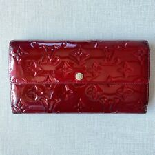 Authentic Louis Vuitton Vernis Sarah Wallet Purse Red