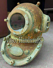 Copper Brass Vintage Diving Helmet US Navy Boston Mark Antique SCA Marine Scuba