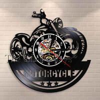 Motorcycle Garage Motorbike Vintage Vinyl Record Wall Clock Decor Bikers Gift