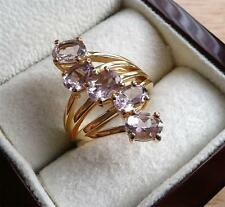 ROSE DE FRANCE PALE AMETHYST 925 STERLING SILVER GOLD CROSSOVER RING SZ N 7