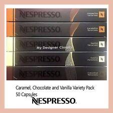 50 Capsules Nespresso Coffee Pods Caramel Vanilla Chocolate Variety Pack MDC