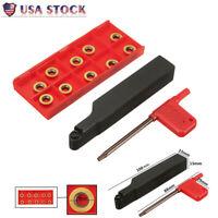 SRAPR1616H10 Face Milling Lathe Tool Holder+10Pc RPMT10T3MO Carbide Inserts Set