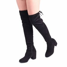 80cf13eef91f Linzi Amber Womens UK 8 Black Faux Suede Over Knee Tall Mid Block Heel Boots