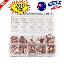 200Pcs 10 Sizes Solid Copper Washers Sump Plug Assorted Washer Kit Plastic Box R