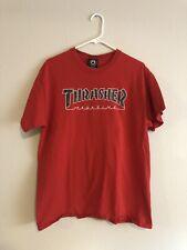 2000s Vtg Thrasher Skateboarding T-Shirt, Skate Tee, Red Large