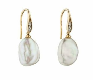 Elements 9 ct yellow gold diamond and white keshi pearl earrings