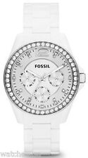 Fossil ES3252 Riley Silver Dial Rubber Strap Multifunction Womens Watch