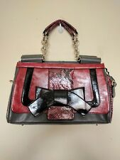 Nicole Lee Womens Burgundy Gray Chain Strap Handbag Purse