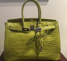 35cm Chartreuse Green Crocodile Leather Birkin Tote