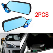 2PCS Racing Style Rearview Mirrors with Blue Carbon Fiber Trim + Metal Bracket