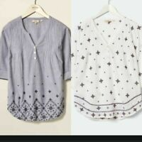 Ex FAT FACE  EMBROIDERED POPOVER BLOUSE TOP NOW £14.99 + 3.99 Delivery!  (B139)