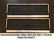 2x Top Kennzeichenhalter Silber Matt Chrom Optik Gebürstet Made in EU (03