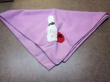 BOWLING PIN pink handkerchief handmade knit design vtg OG bandana embroidery