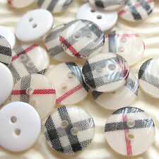 """US SELLER - 60 pcs x 0.5"""" Plastic Gingham Buttons Round/Kids/Baby SB525"""