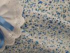 Sweet Little Blue Floral Clipped Spot Cotton Voile Fabric -140cm xper half-metre