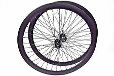 700C Wheelset 43mm Gloss Black Fixie Rims Fixed Gear Single Speed Flip Flop Hub