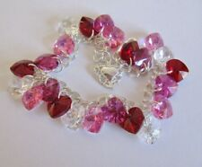 Heart Charm Bracelet Made with Swarovski Red, Pink AB & Solid Sterling Silver