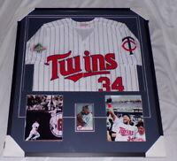 Kirby Puckett Signed Framed 31x35 Jersey & Photo Display Twins
