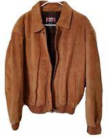 Vintage R & R Jean Co 100% Baseball Leather Jacket Size Medium Tan Mens Casual
