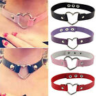 Women Favorite Punk Goth Leather Collar Choker Rivet Heart Ring Funky Necklace