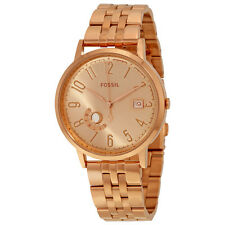 FOSSIL VINTAGE MUSE DAY & DATE ROSE GOLD DIAL ST.STEEL LADIES WATCH ES3789 NEW