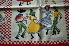 "Vtg Kitchen Towel Cotton Square Dance Scene 17"" X 24"" Do-Si-Do Red Check"