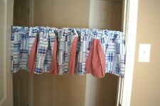 Blue, Red, White Patchwork/Checked Peek-a-Boo Valance