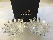 ROGASKA Lead Crystal Candle Holder Candleholder 1 Pair 2 pc Home Gift in Box New