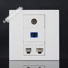 Wall Plate 1 Port CAT5E RJ45 + SC Fiber +TV +RJ11 Phone Panel Faceplate