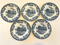 """Johnson Brothers COACHING SCENES Blue Bread Plates 6.25"""" ~ Set of 5"""