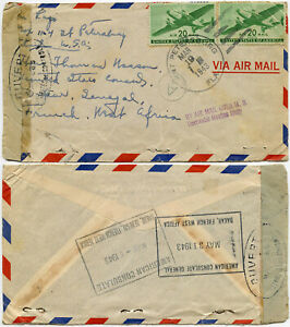 USA to SENEGAL WW2 AIRMAIL DOMESTIC ONLY 1943 CENSORED FR.WEST AFRICA DIPLOMATIC