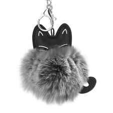 New Style Cat Keychain Alloy Pendant Women Key Ring Holder Pompoms Key Chains