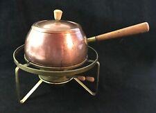 Vtg Swiss Perk Fondue Set Brass Stand & Burner & Copper Clad Pot w/Wood Handle 2