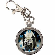 Pug Silver Key Ring Chain Pocket Watch